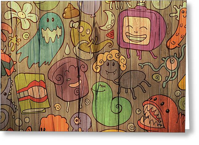 Colorful Doodle Illustrations Set With Greeting Card