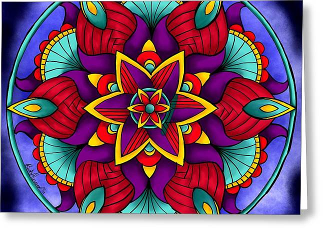 Greeting Card featuring the digital art Colorful Flower Mandala by Becky Herrera