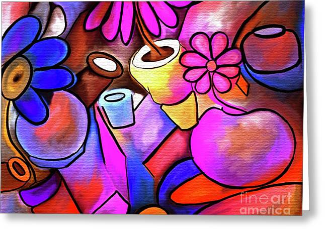 Colorful Flowerpots Abstract Greeting Card