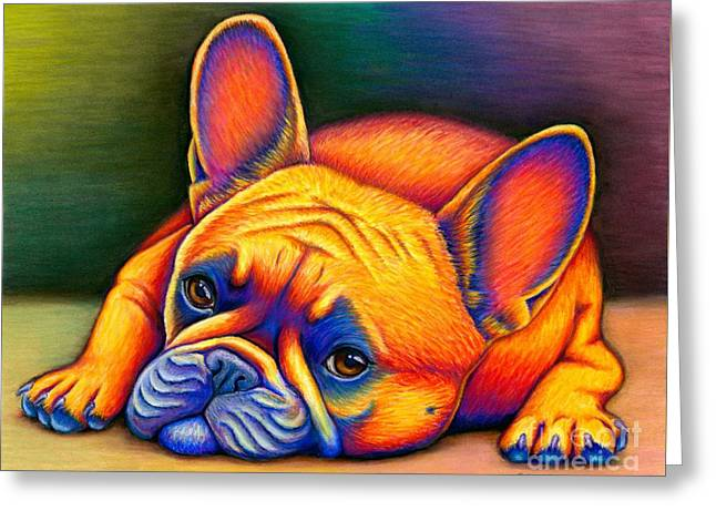 Daydreamer - Colorful French Bulldog Greeting Card