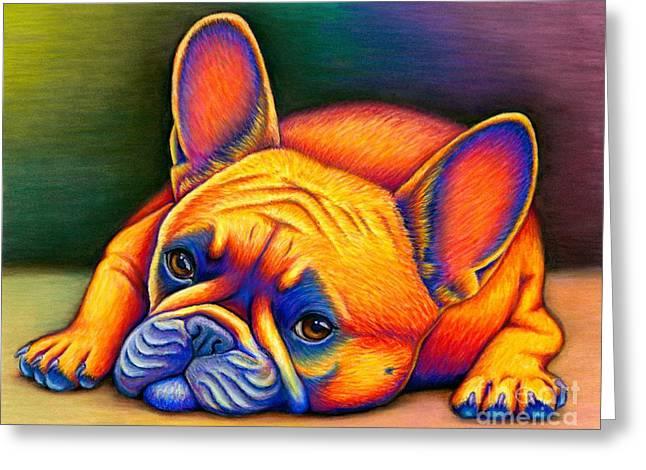 Colorful French Bulldog Greeting Card