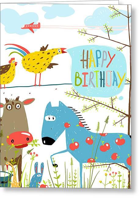 Colorful Funny Cartoon Farm Domestic Greeting Card by Popmarleo