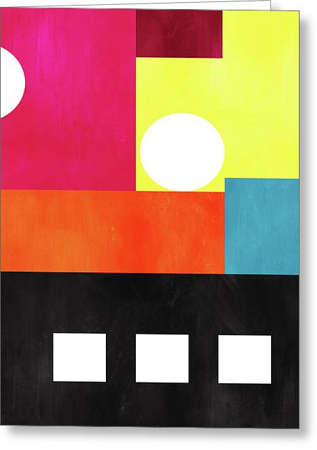 Greeting Card featuring the mixed media Colorful Geometric Abstract 1- Art By Linda Woods by Linda Woods