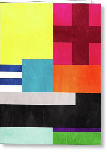 Greeting Card featuring the mixed media Colorful Geometric Abstract 2- Art By Linda Woods by Linda Woods