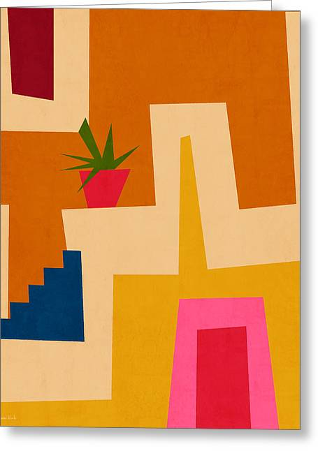 Colorful Geometric House 2- Art By Linda Woods Greeting Card