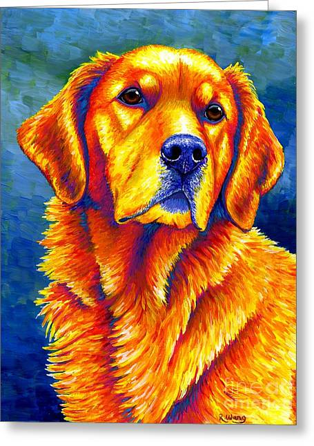 Colorful Golden Retriever Dog Greeting Card