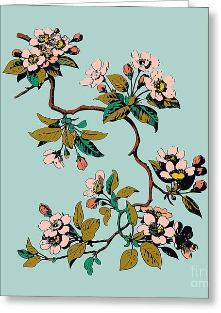 Colorful Hand Drawn Sakura Branch Greeting Card