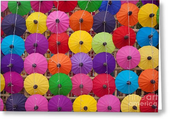 Colorful Handmade Umbrellas Bo Sang Greeting Card