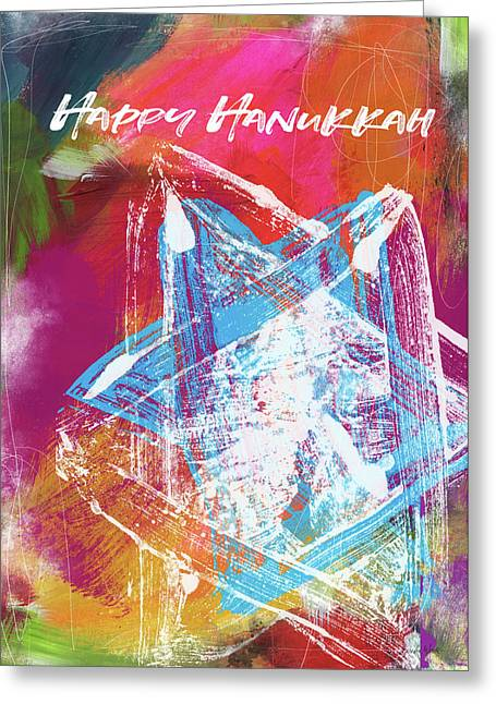 Greeting Card featuring the mixed media Colorful Hanukkah Art Star-  Art By Linda Woods by Linda Woods