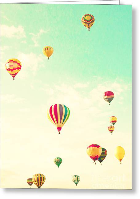 Colorful Hot Air Balloons In A Green Greeting Card