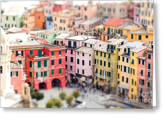 Colorful Houses Of Vernazza With Greeting Card