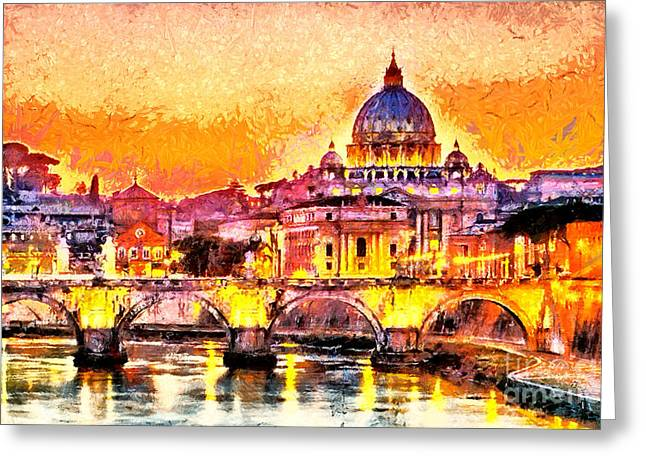 Colorful Illuminated San Peter Basilica Greeting Card