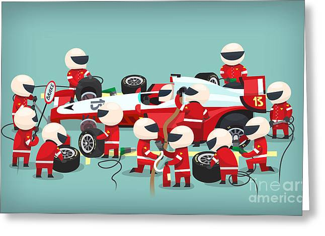 Colorful Illustration With Pit Stop Greeting Card
