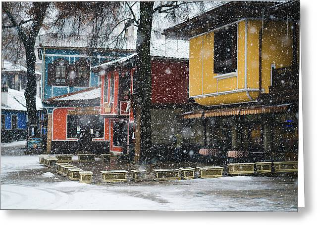 Greeting Card featuring the photograph Colorful Koprivshtica Houses In Winter by Milan Ljubisavljevic