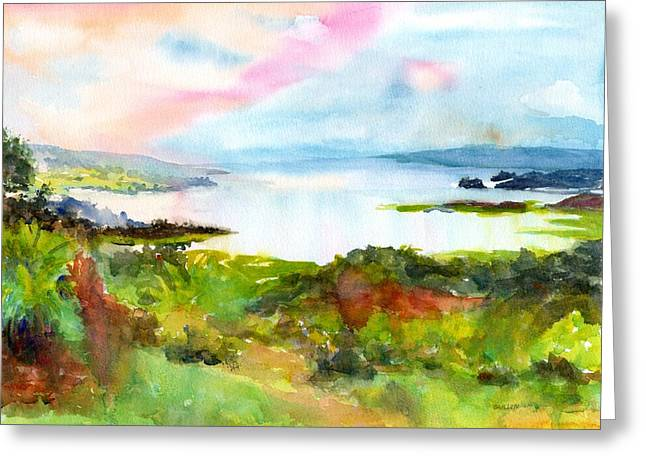 Greeting Card featuring the painting Colorful Lake Landscape - Arenal Costa Rica by Carlin Blahnik CarlinArtWatercolor