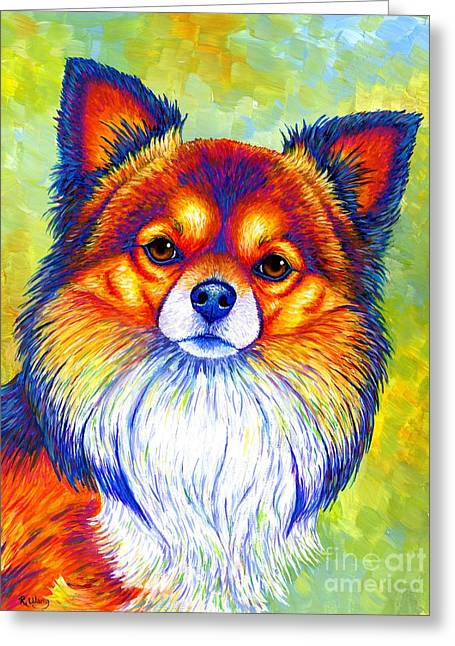 Colorful Long Haired Chihuahua Dog Greeting Card