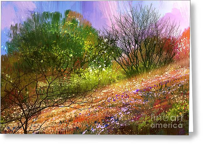 Colorful Meadow,landscape Digital Greeting Card