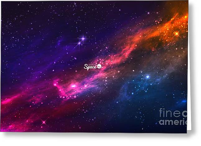 Colorful Nebula In Space Background Greeting Card