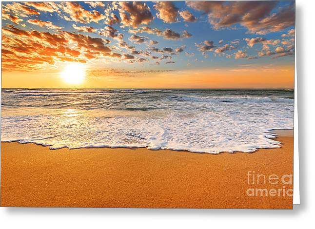 Colorful Ocean Beach Sunrise Greeting Card
