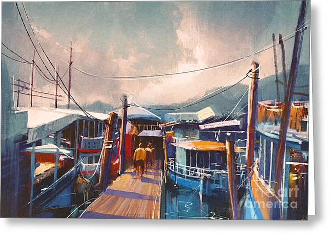 Colorful Painting Of Fishing Boats In Greeting Card