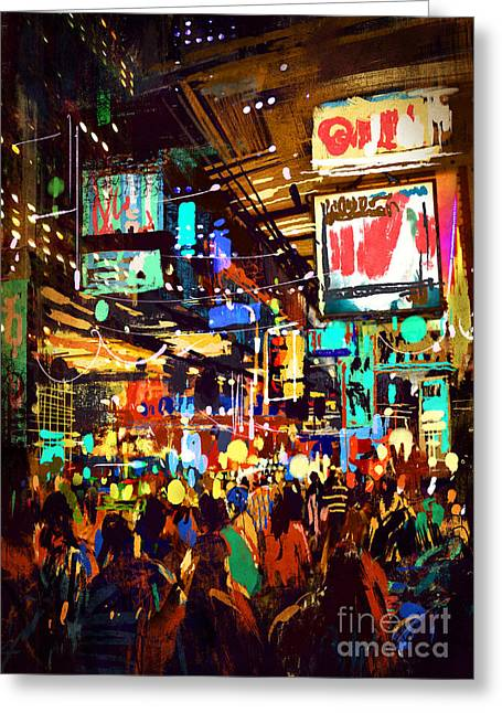 Colorful Painting Of Night Greeting Card