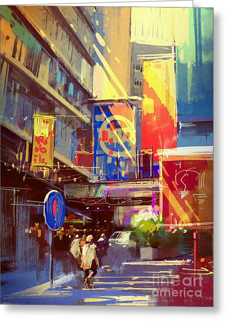 Colorful Painting Of Urban Greeting Card by Tithi Luadthong