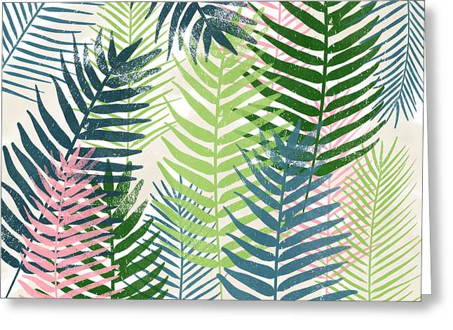 Colorful Palm Leaves 2- Art By Linda Woods Greeting Card