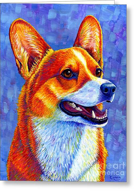Colorful Pembroke Welsh Corgi Dog Greeting Card