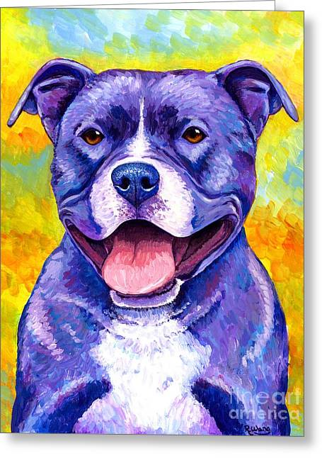 Colorful Pitbull Terrier Dog Greeting Card