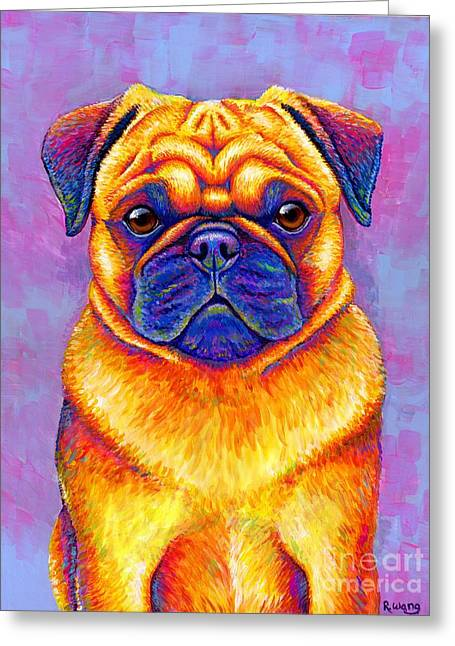 Colorful Rainbow Pug Dog Portrait Greeting Card