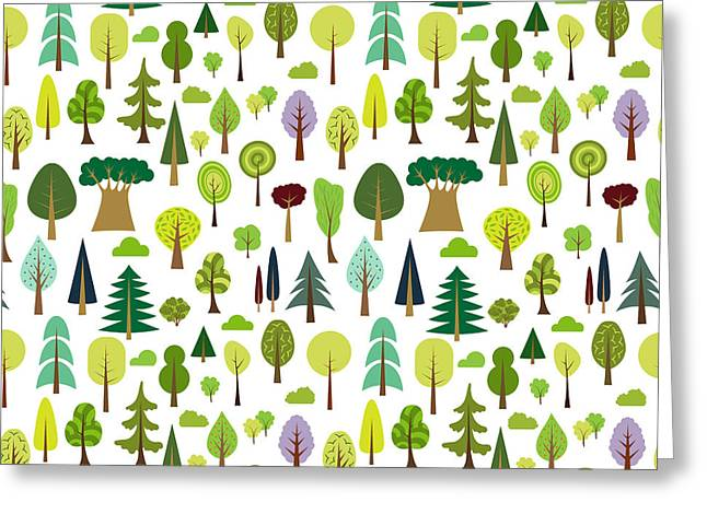 Colorful Seamless Pattern Of Different Greeting Card