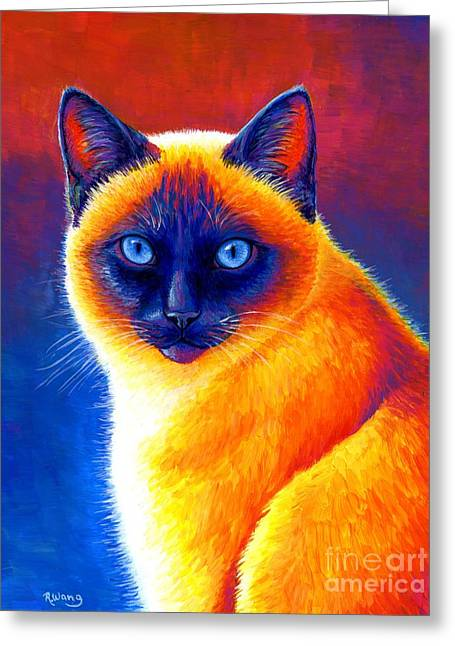 Jewel Of The Orient - Colorful Siamese Cat Greeting Card