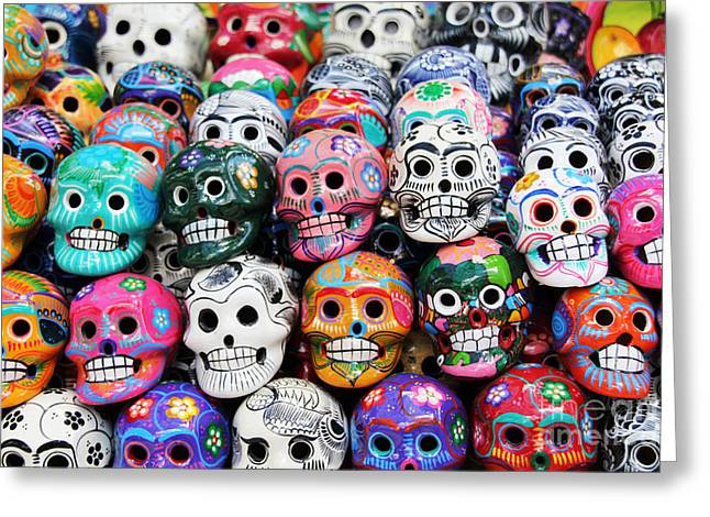 Colorful Skull From Mexican Tradition Greeting Card