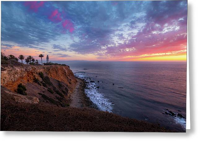 Colorful Sky After Sunset At Point Vicente Lighthouse Greeting Card