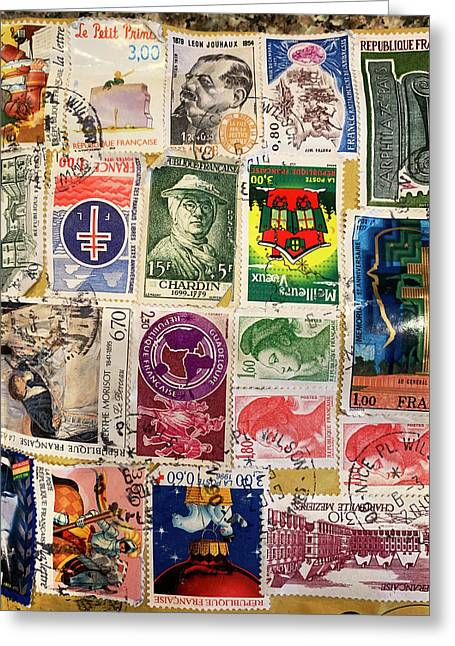 Colorful Stamp Collection Greeting Card