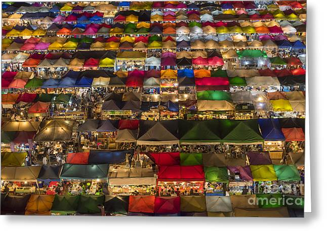 Colorful Street Market From Above Greeting Card