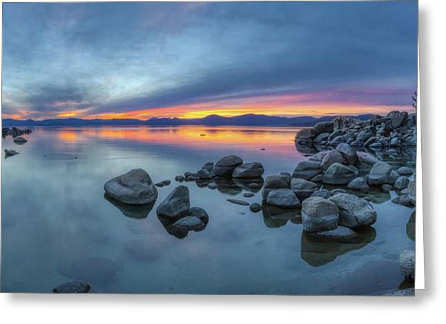 Colorful Sunset At Sand Harbor Panorama Greeting Card
