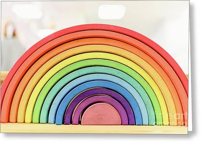 Colorful Waldorf Wooden Rainbow In A Montessori Teaching Pedagogy Classroom. Greeting Card