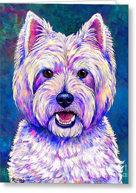 Colorful West Highland White Terrier Blue Background Greeting Card