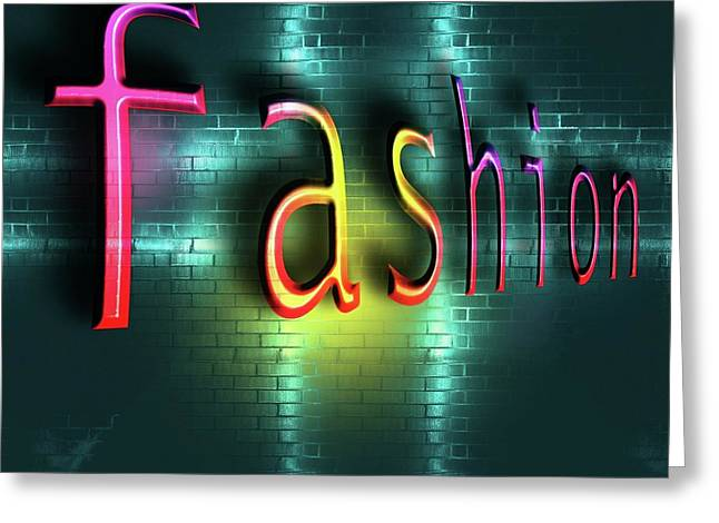 Colorful Word Fashion On Blue Reflecting Metallic Background. Greeting Card