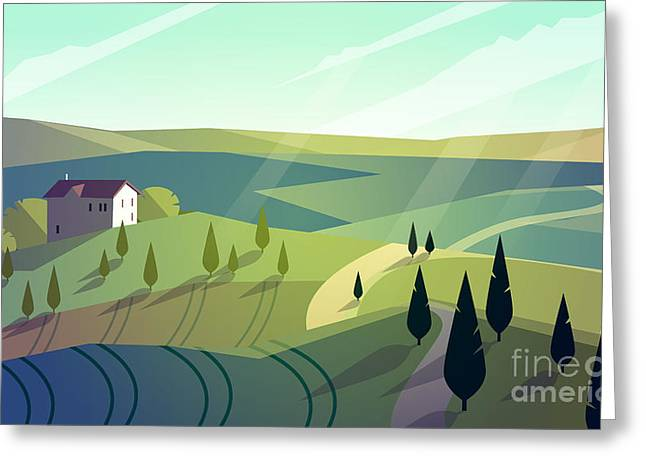 Colorfull Cartoon Flat Landscape Vector Greeting Card