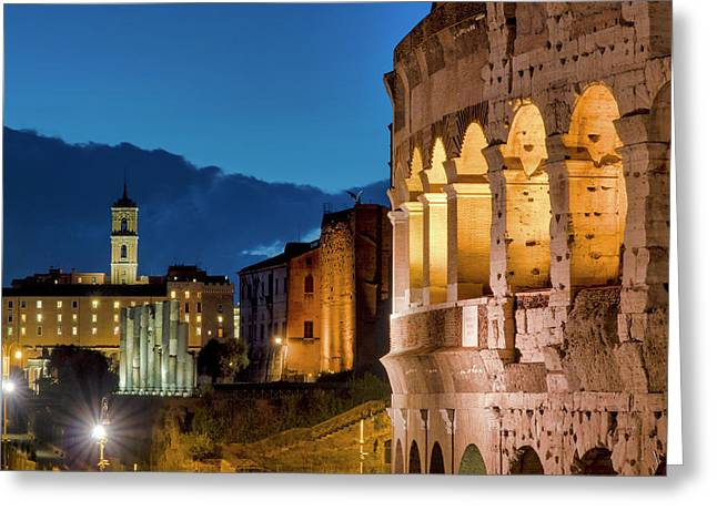 Greeting Card featuring the photograph Colosseum And The Campidoglio by Fabrizio Troiani