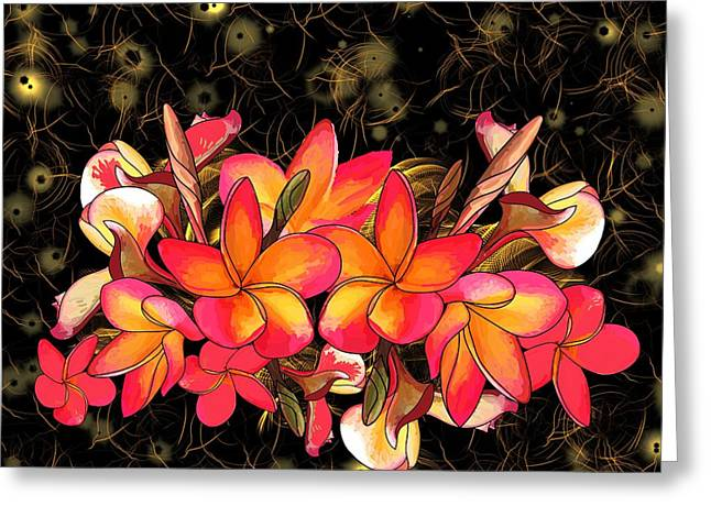 Coloured Frangipani Black And Gold Background Greeting Card