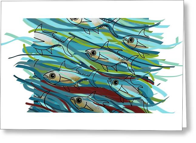 Coloured Water Fish - Digital Change 2 Greeting Card