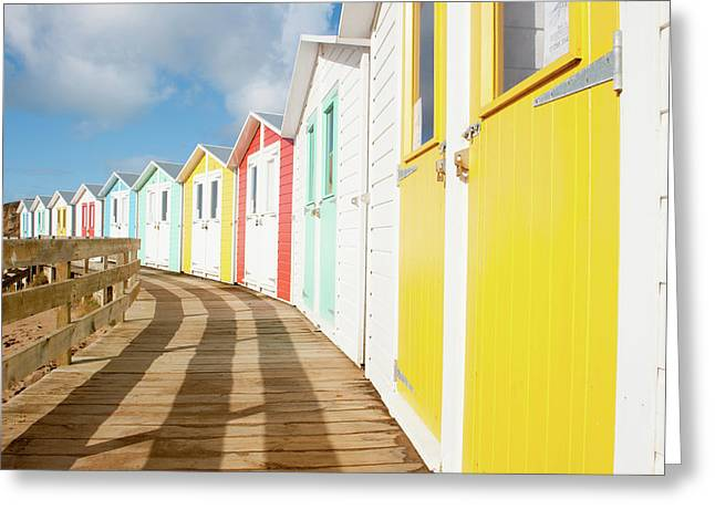 Colourful Bude Beach Huts Greeting Card