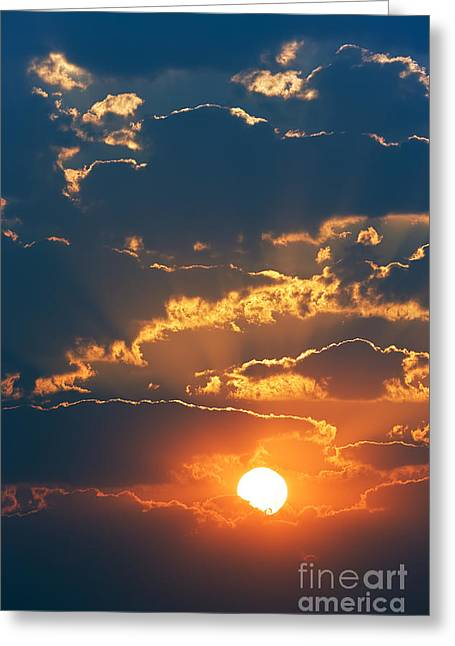 Colourful Sunrise Creating Golden Edges Greeting Card