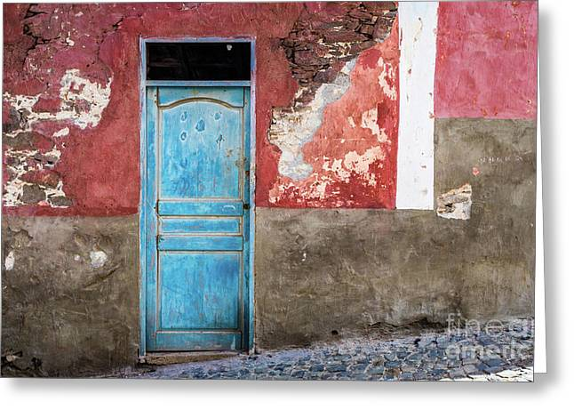 Colorful Wall With Blue Door Greeting Card