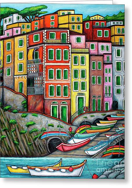 Colours Of Riomaggiore Cinque Terre Greeting Card