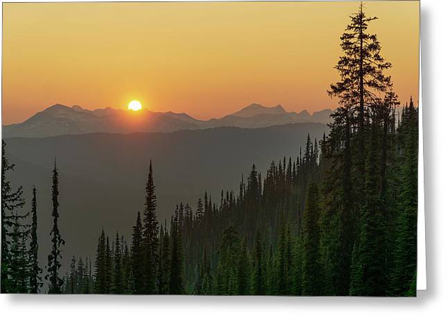 Columbia Mountain Sunset Greeting Card