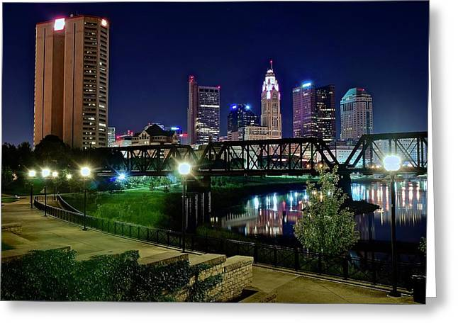 Columbus Night On The Scioto Riverfront Greeting Card